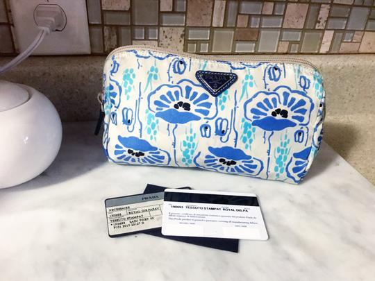 Prada Prada Nylon Velo Floral Ivory Blue and Beige Cosmetic Bag / Pouch Image 5