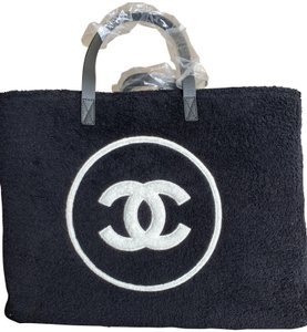a0d57a2606df Chanel Backpack Drawstring Navy Blue Striped Cc Logo Tote Black and ...
