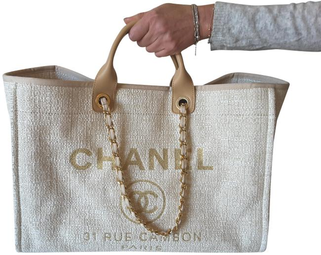 Item - Deauville Beige/Gold Canvas Tote