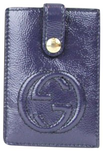 Gucci GUCCI Soho Patent Leather Card Case Pouch Blue 338331 4233