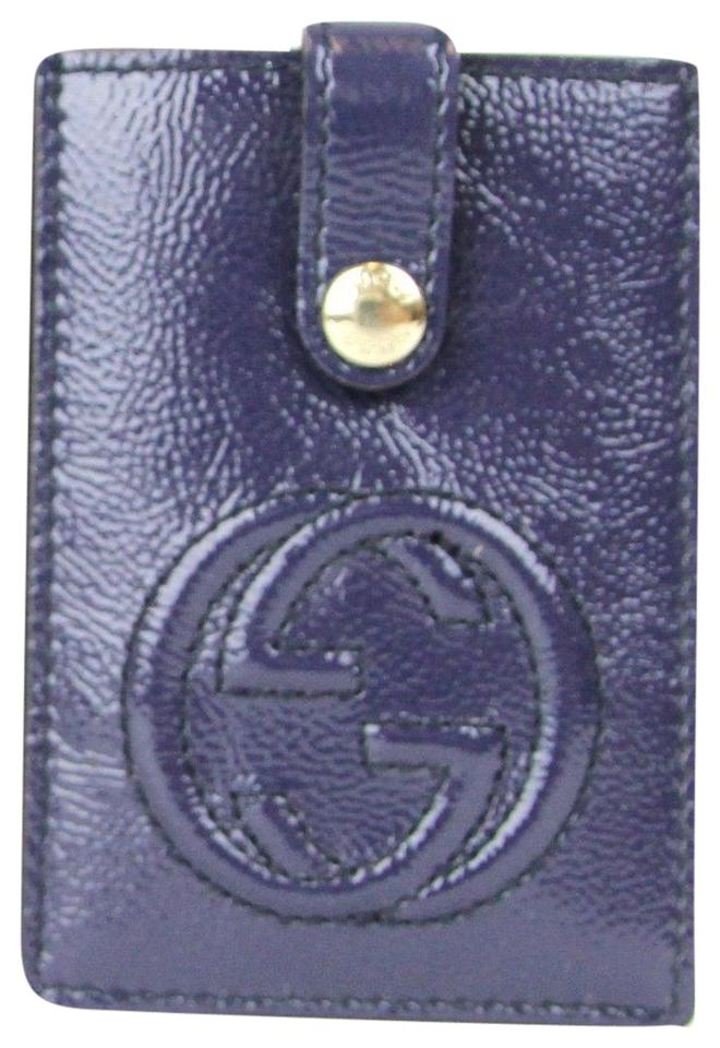 b8269c9b14e Gucci Blue Soho Patent Leather Card Case Pouch 338331 4233 Wallet ...