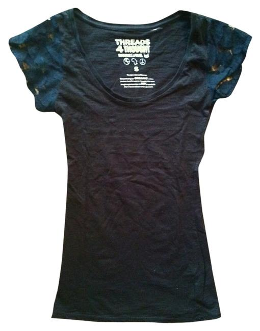 Item - Black with Lace Sleeves Tee Shirt Size 4 (S)