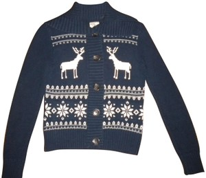 Bass Navy/Off Button Front Elk/Snowflake Sweater