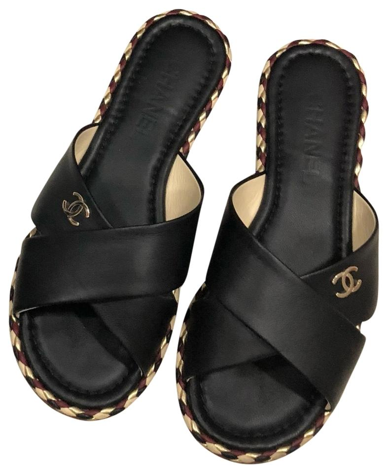 9e167ce89 Chanel Black Leather Flip Flops Mules Made In Italy Sandals Size EU ...