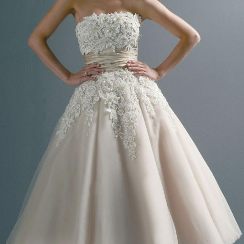 Justin Alexander Coffeeivory And Tulle Tea Length Wedding Mid