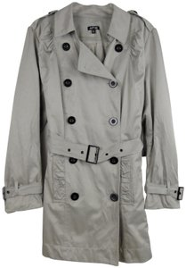 Apt. 9 Double Breasted Belt Ruffle Ruched Long Trench Coat