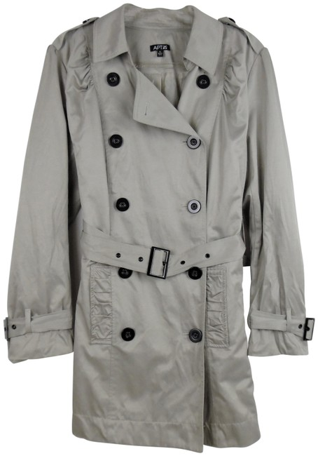 Item - Taupe Beige Double-breasted Belted Ruffled Trim Coat Size 16 (XL, Plus 0x)