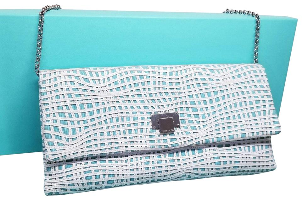 Tiffany Co Shoulder Bag Piper Blue Leather Clutch