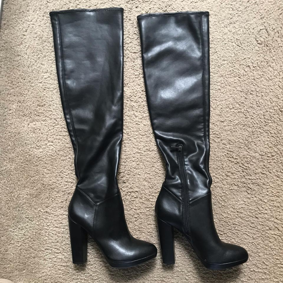 22a82820063 Jessica Simpson Black Grandie Over The Knee Boots Booties Size US ...