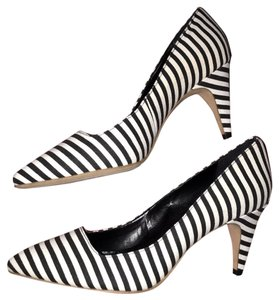 ea5d3cc35259 Kate Spade Striped Heels Saturday Leather Black white Pumps