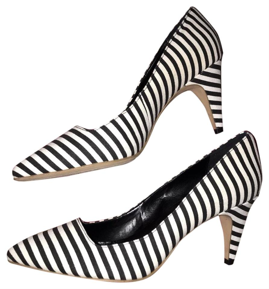f819c749ca2f Kate Spade Striped Heels Saturday Leather Black white Pumps Image 0 ...