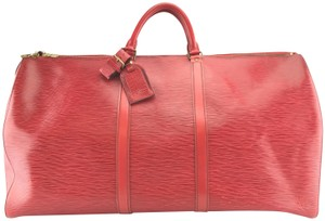 Louis Vuitton Keepall 60 Leather Duffle epi red Travel Bag
