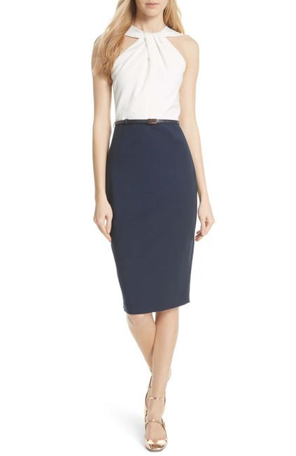 Item - White and Navy As Pictured Print Belted Body-con 5 (Us 14) Mid-length Formal Dress Size 14 (L)