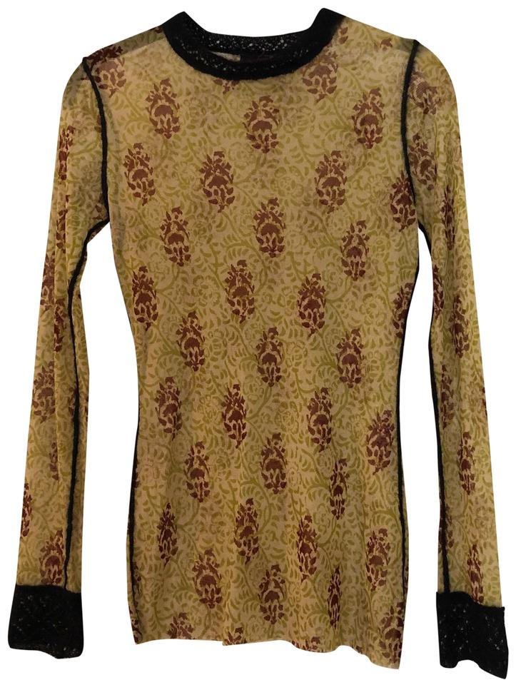 50eb8184c52a Jean-Paul Gaultier Tan Green Brown Multicolor Printed Long Sleeve Blouse