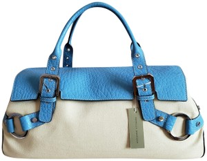 Adrienne Vittadini Canvas Silver Hardware Kayla Blue Satchel in Leather & Off-White