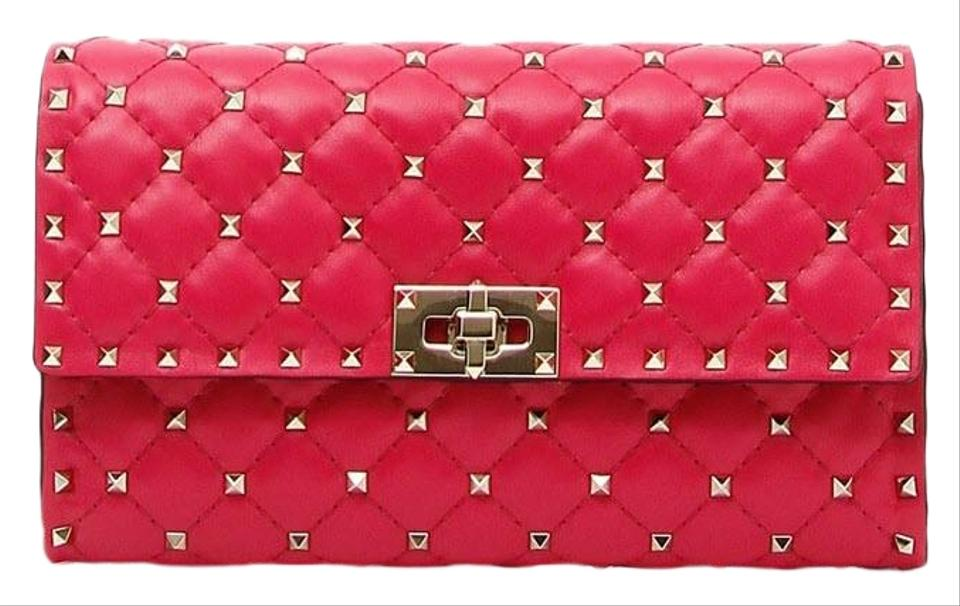 8c0ad392c8ff5 Valentino Rockstud Spike Chain Wallet Disco Pink Leather Cross Body ...