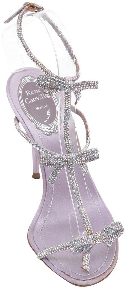 4925bef157d5 Rene Caovilla Purple Satin Crystal Lilac Leather T-strap Bow Sandals ...