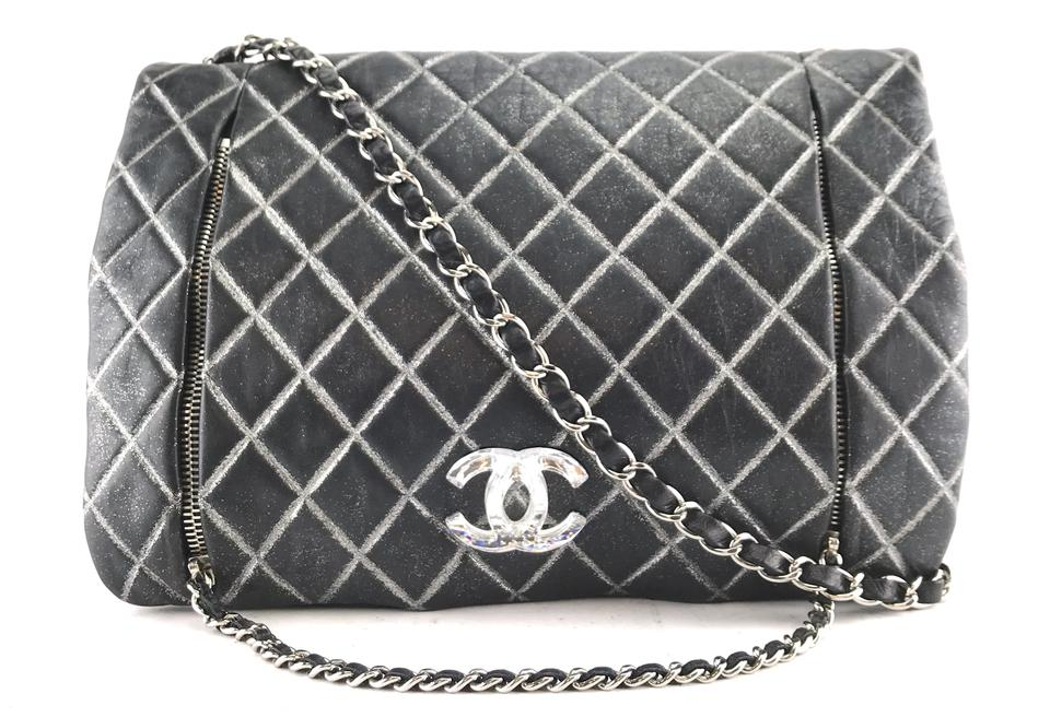 ff20e74a53ac Chanel #26416 Quilted Clear Facet Resin Cc Logo Black Leather Shoulder Bag
