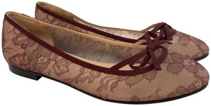Valentino Lace Bow Clear Red Flats