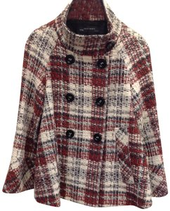 Zara Textured Plaid Double Breasted A Line Bracelet Sleeve Bell Cuff Pea Coat