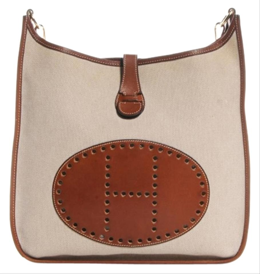 c2ff32046338 Hermès Evelyne Toile and Natural Pm Brown Barenia Leather Cross Body Bag  63% off retail