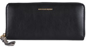 Alexander McQueen New Alexander Mcqueen 479934 Black Leather Zip Around Wallet