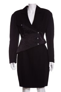 Thierry Mugler MUGLER Black 2 PC Skirt Suit SZ 44