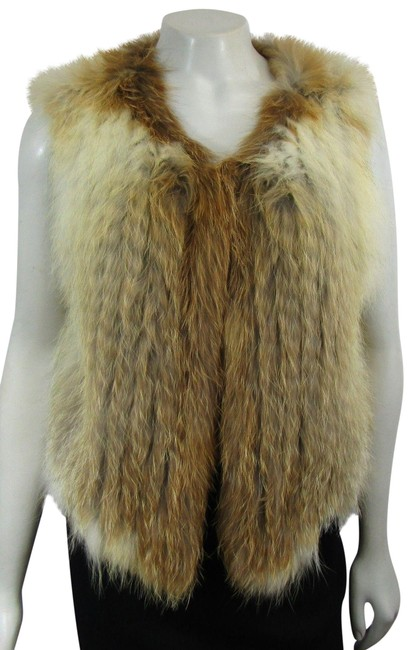 Item - Multicolor Nwot Cropped Real Fox Fur Open Brown Red Beige Sleevel Vest Size 4 (S)
