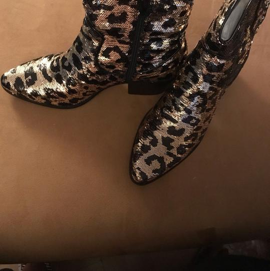 Betsey Johnson black and gold leopard print Boots Image 1