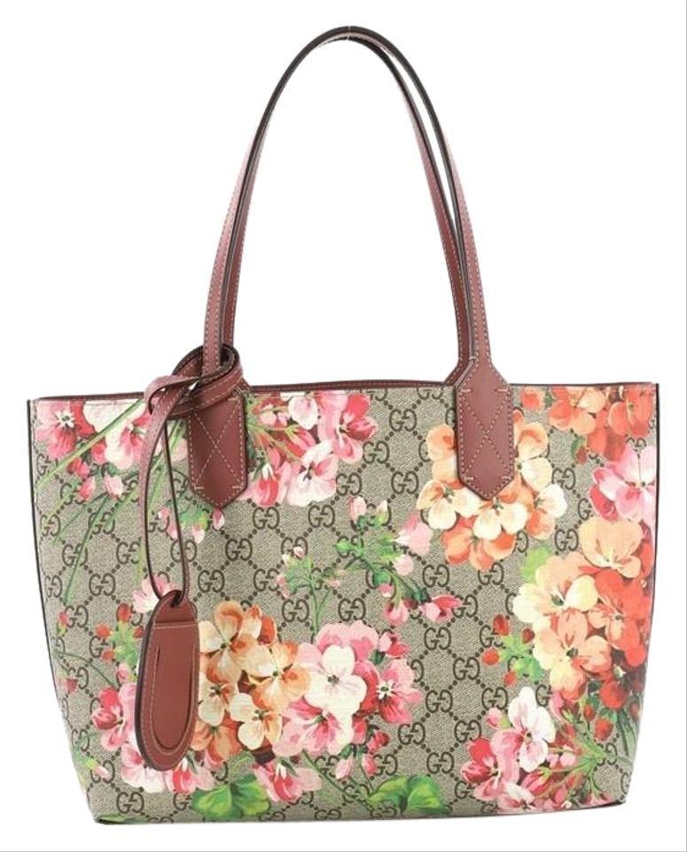 bc46cfe563d Gucci Reversible Blooms Gg Print Small Brown Leather Tote - Tradesy