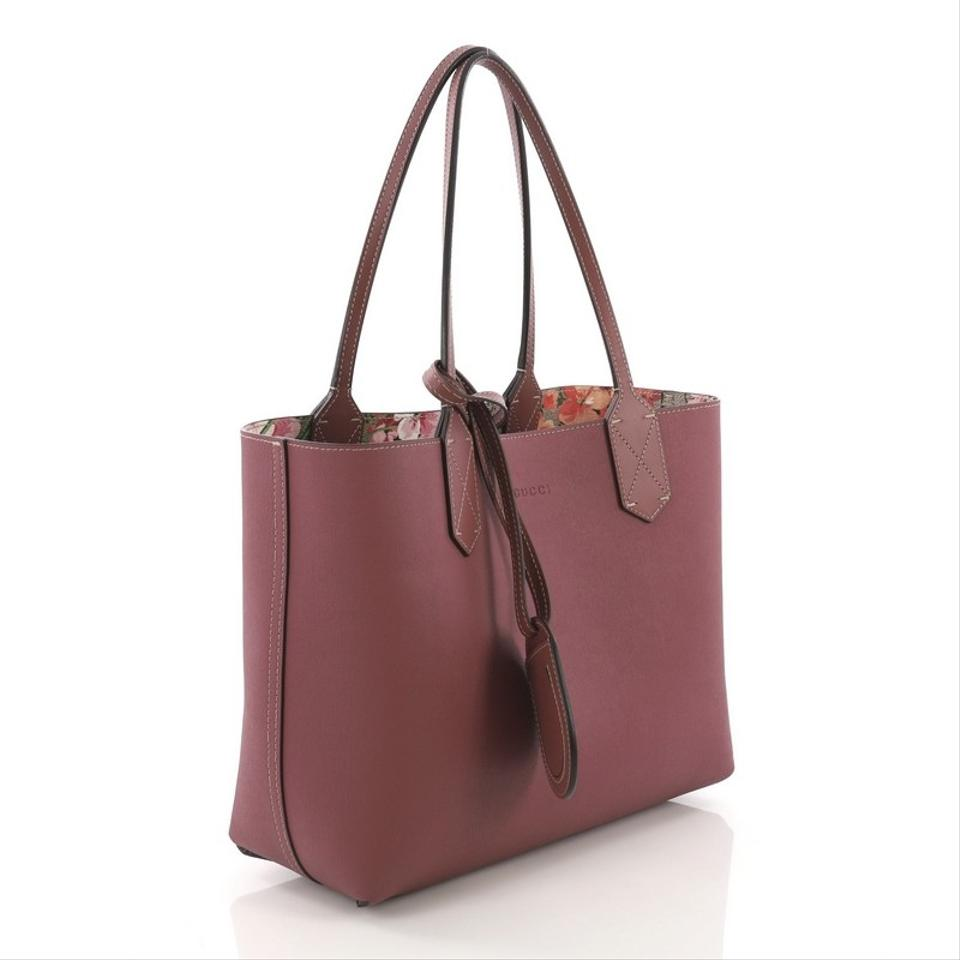 13763b32595 Gucci Reversible Blooms Gg Print Small Brown Leather Tote - Tradesy