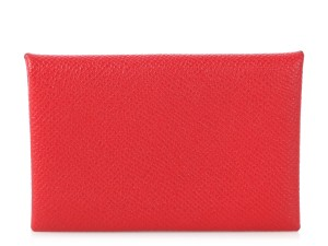 Hermès RED EPSOM LEATHER CALVI CARD CASE