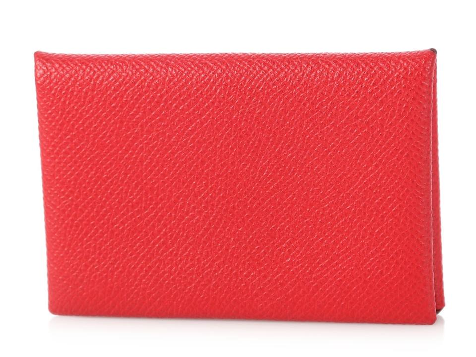 new product 9809d e3d70 Hermès Red Epsom Leather Calvi Card Case 17% off retail