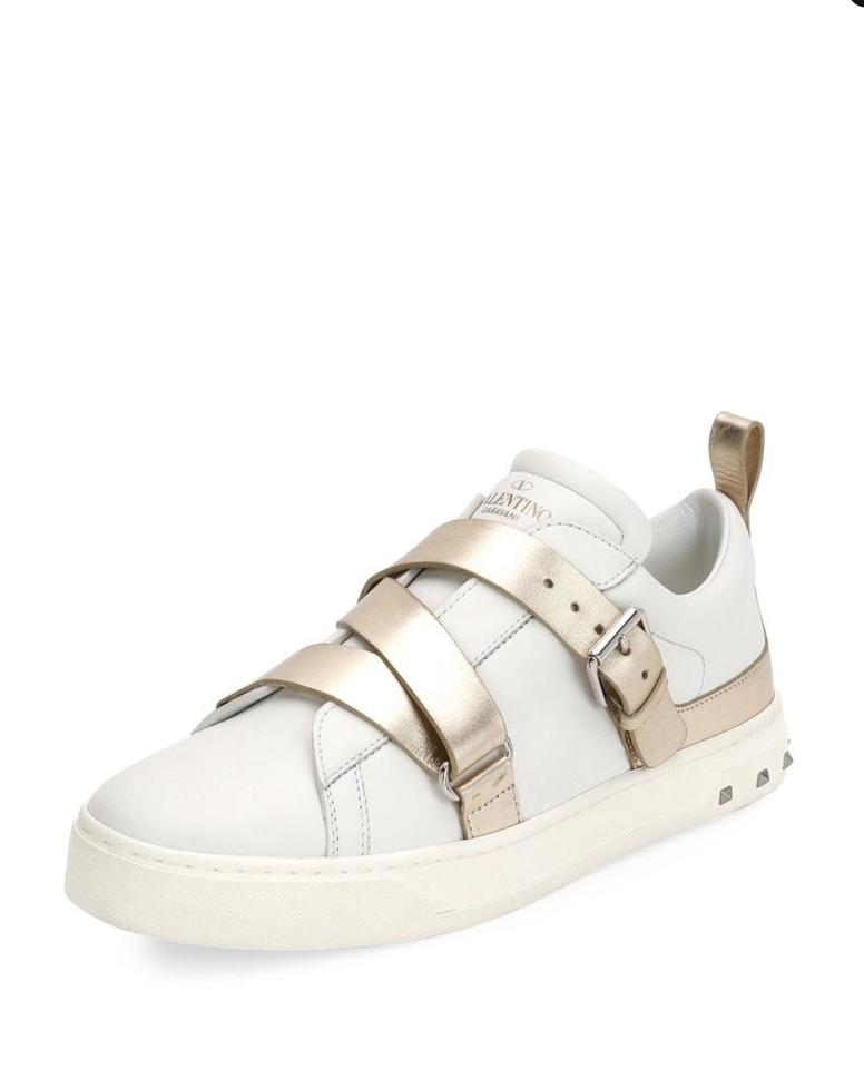 18c5a2784d6a Valentino White and Gold Garavani V-punk Sneakers - Women - Leather Rubbe  Sneakers