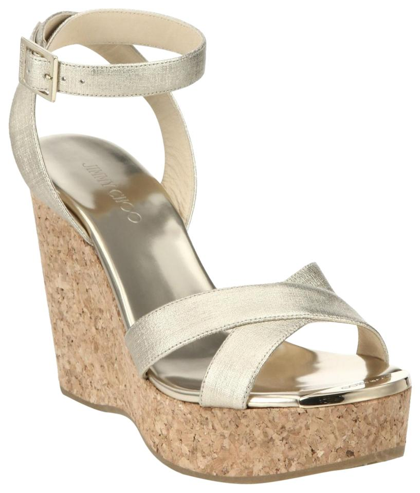 bf334b0b90d Jimmy Choo Gold Womens Strappy High Wedge Heel Platform Leather Sandals