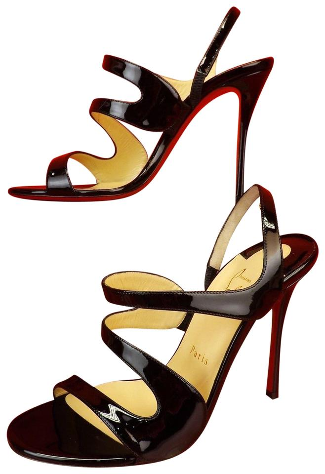 d3617f99056b Christian Louboutin Black Vavazou 100 Patent Leather Sling Pumps ...
