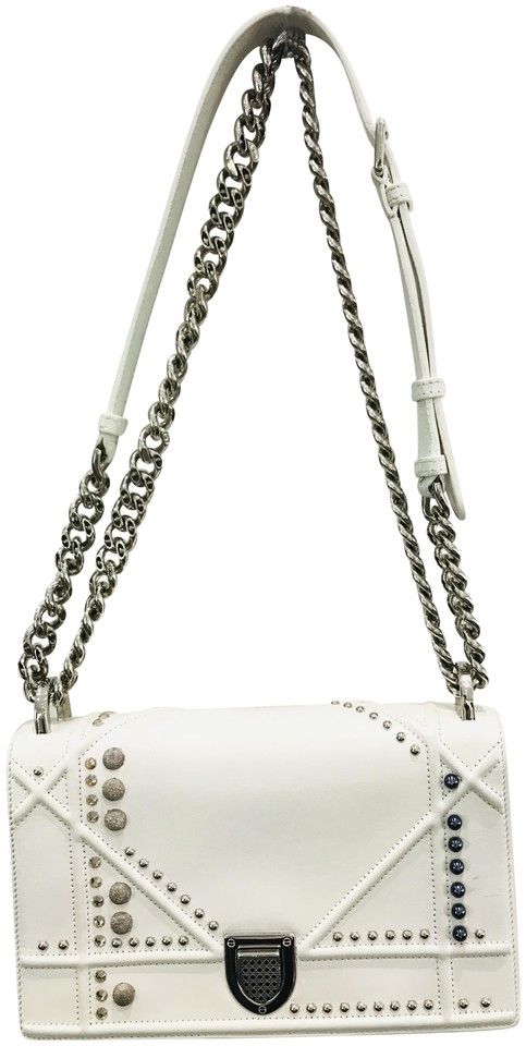 673121c6843d Dior Calfskin Small Diorama White Leather Shoulder Bag - Tradesy