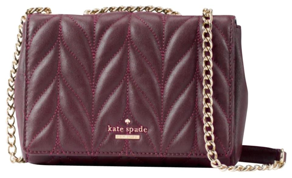 Kate Spade Emelyn Briar Lane Quilted Crossbody Red Deep Plum Leather Shoulder  Bag 72218b18456e5