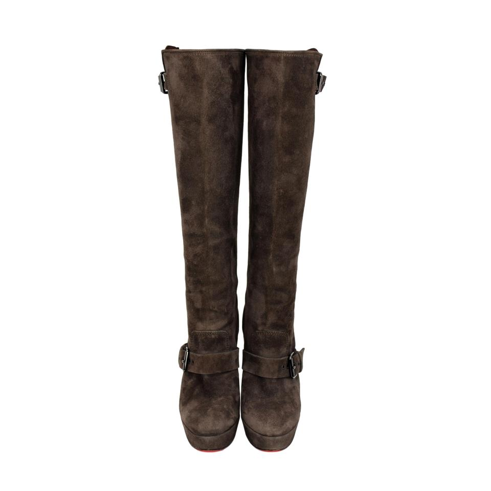 1d0fc33f66b0 Christian Louboutin Brown Suede Knee High Platform with Buckle Accents  Boots Booties Size US 6.5 Regular (M