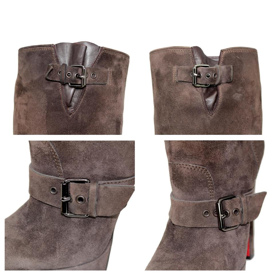 0ad6f96500ba Christian Louboutin Brown Suede Knee High Platform with Buckle ...