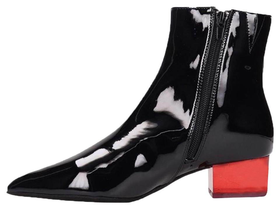 Jeffrey Campbell Patent Leather Red And Lucite Heel Patent Ankle Black  Boots Image 0 ...