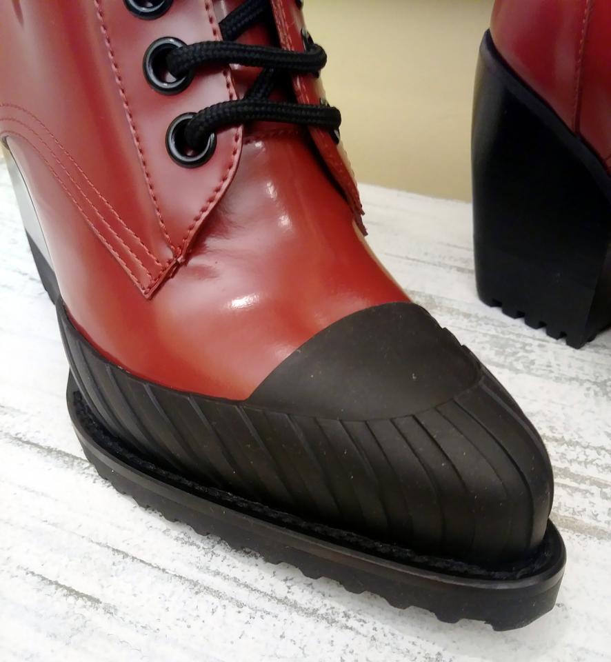 28eabea4f97 Chloé Red Rylee Lace Up Patent Leather with Tan Stripe Boots/Booties Size  EU 38 (Approx. US 8) Regular (M, B) 47% off retail