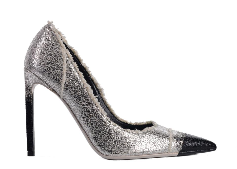 afaaaa95092 Tom Ford Silver Womens Metallic Frayed Canvas C3404 Pumps Size US 8 ...