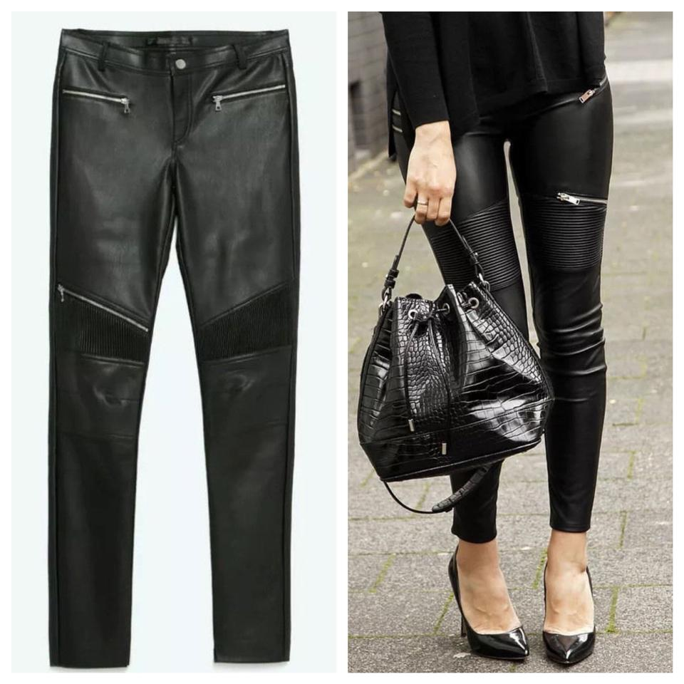 efab1504 Zara Black New Faux Leather Biker Trousers with Zips Pants Size 8 (M ...