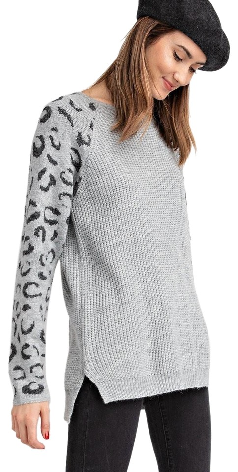 Easel Leopard Sleeves High Gray Sweater - Tradesy 39866a653