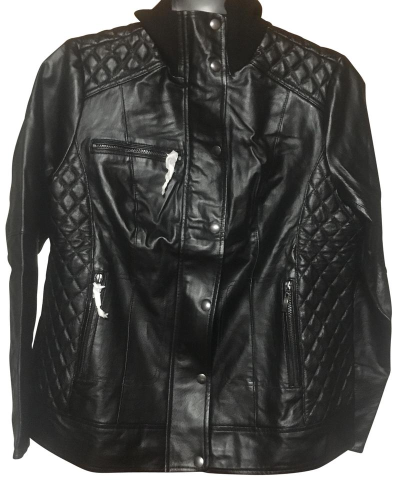 145b3f0fd45 Jessica London Plus Size Moto Bomber Zipper 14W Black Leather Jacket ...