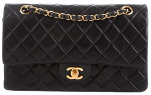 Chanel Classic Flap Cc Logo Quilted Lambskin Caviar Leather Medium Large Shoulder Bag