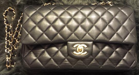 Chanel Classic Flap Cc Logo Quilted Lambskin Caviar Leather Medium Large Shoulder Bag Image 3
