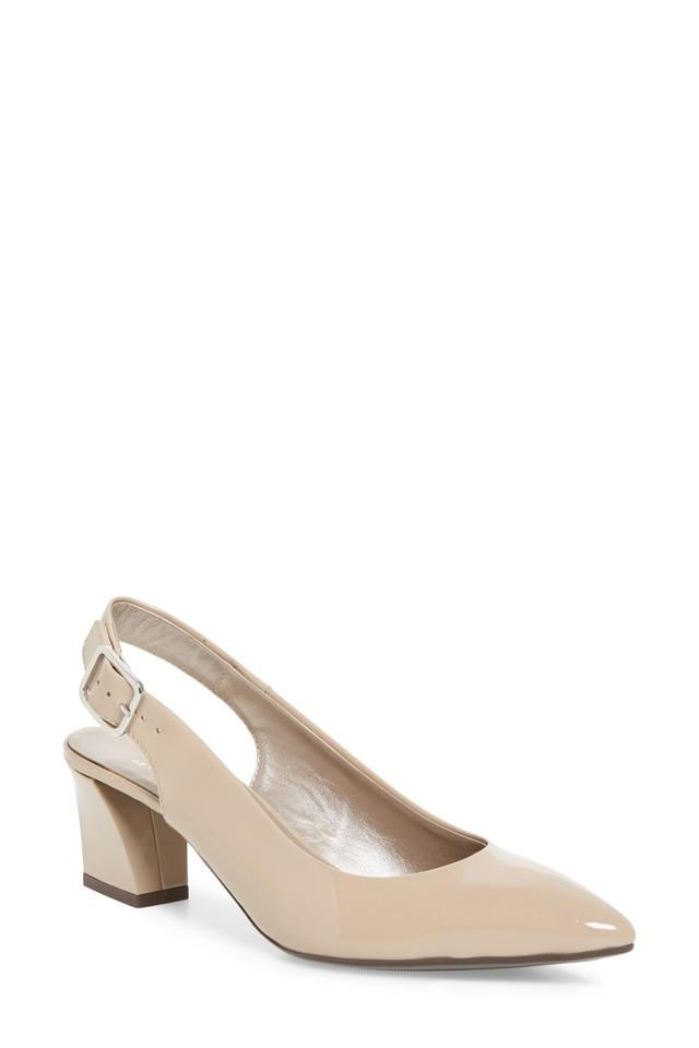 4d8c2d6245d4 Attilio Giusti Leombruni Block Heel Slingback Pointy Toe Cushioned Insole  Made In Italy Nude Patent Pumps ...