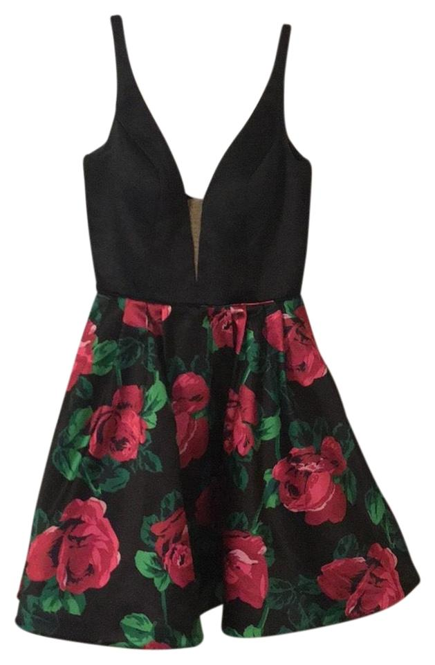 Sherri Hill Black With Rose And Green Designs On Bottom 50596 Short